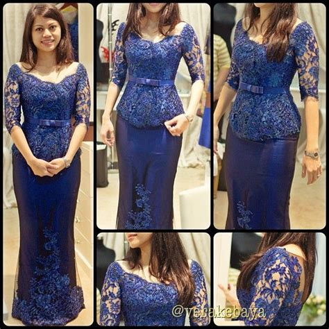 Setelan Kebaya Payet Lengan Panjang Biru Elektrik 33 model baju kebaya modern yang elegan dikenakan info tren baju terbaru di indonesia