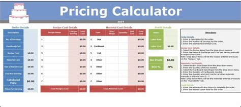 Cake Pricing Spreadsheet by Details About Home Bakery Business Management Excel