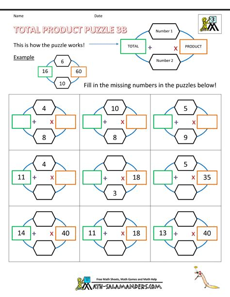 math puzzle worksheets 3rd grade