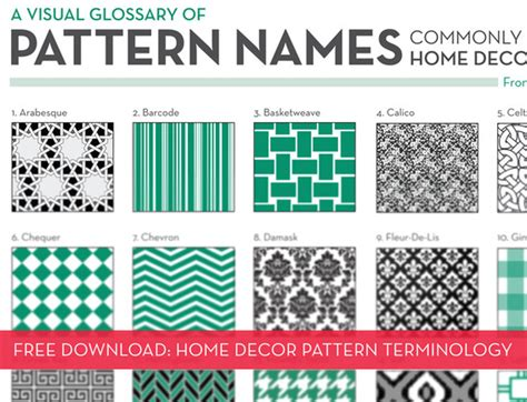 home decor names free download a visual glossary of home decor patterns