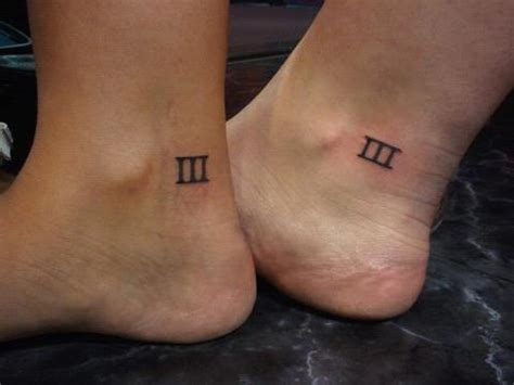 number 3 tattoo designs matching numeral three on ankle