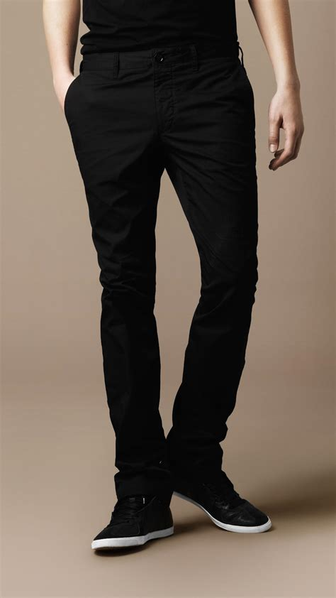 Slim Fit lyst burberry brit slim fit cotton chino trousers in black for