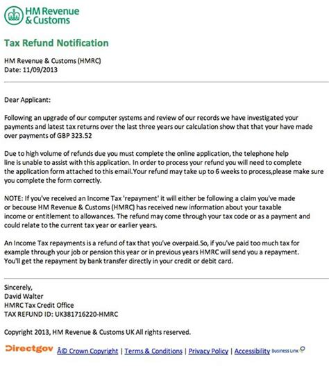 Tax Credit Letter About Single Claim Hm Revenue Customs Refund Of Overpayments Phishing Scam