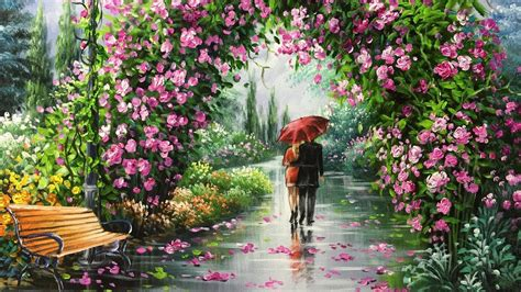 walking in garden acrylic painting slideshow