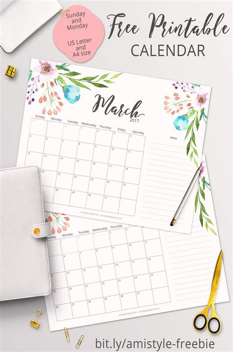 printable calendar planner free printable planner 2017 march calendar with