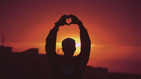 sunset love heart silhouette  wallpapers hd wallpapers