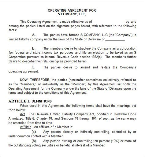 Delaware Llc Operating Agreement Template Templates Resume Exles 9rgnejjaxb Delaware Llc Operating Agreement Template