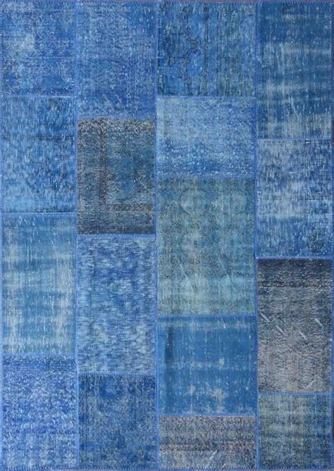 Rugsville Vintage Turkish Over Dyed Patchwork Mazzarine Rugs Blue