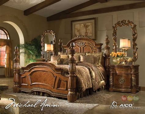 post bedroom sets michael amini villa valencia 4 poster king bedroom set