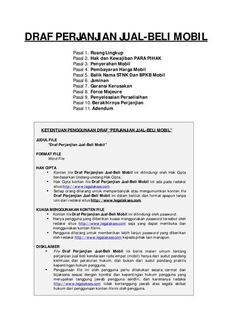 Draft Lengkap Surat Perjanjian Jual Beli Mobil