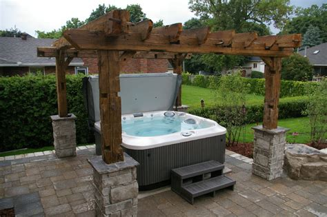 pergola tub barn beam pergola tub traditional landscape other by www barnbeammantels