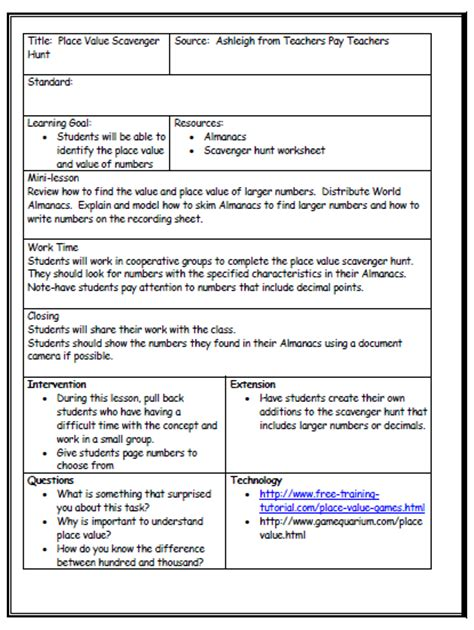 lesson plan template with differentiated instruction