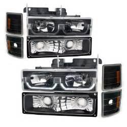 1996 chevy silverado black led drl headlights and bumper
