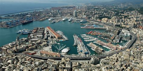 genoa italy port panorama of the port of genoa italy wallpapers and images