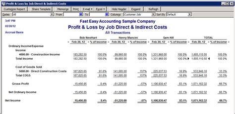 Quickbooks Customer Contact List Report by Quickbooks Profitability Reports