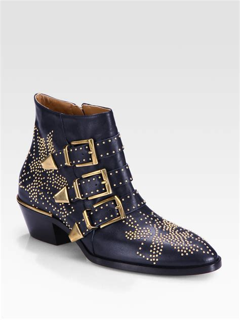 studded boots chlo 233 studded leather buckle ankle boots in blue lyst