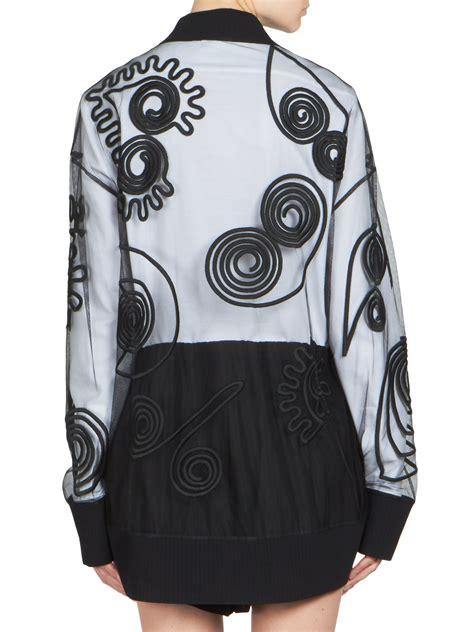 Stelan Jaket Pointed lyst stella mccartney embroidered tulle bomber jacket in white