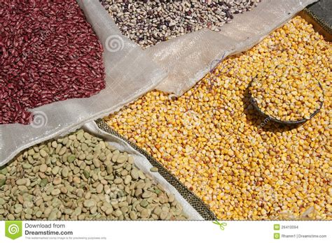 Bags Of Beans And Corn At The Otavalo Market Stock Images   Image: 26410094