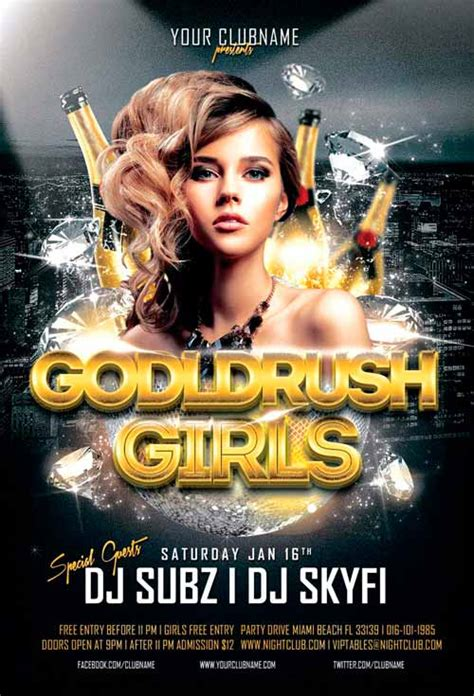 Goldrush Girls Club Flyer Template For Photoshop Awesomeflyer Com Club Flyer Template