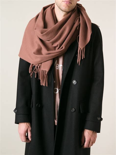acne studios oversized fringed scarf in brown for lyst