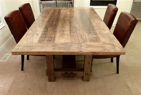 wood dining room table weathered pine boards gray weathered barn board