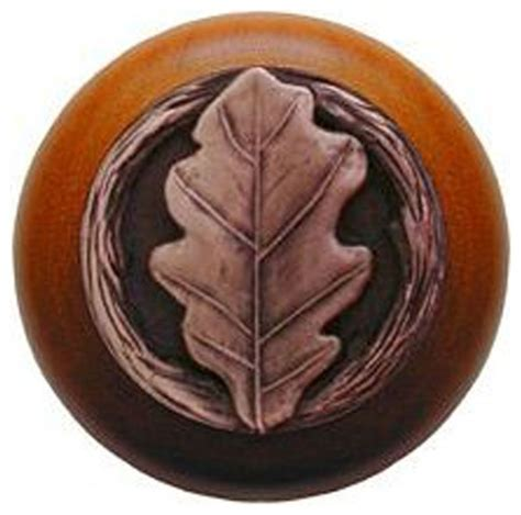 oak leaf cherry wood knob antique copper rustic