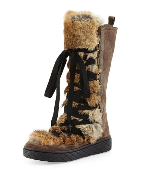 moncler zoelie lace up fur boot in brown save 50 lyst