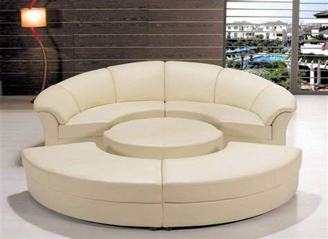 Two Seater Sofa Leather Modern Circle Sectional Sofa Set With Table White Tos Lf