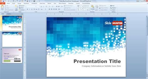 free pixels blue powerpoint template