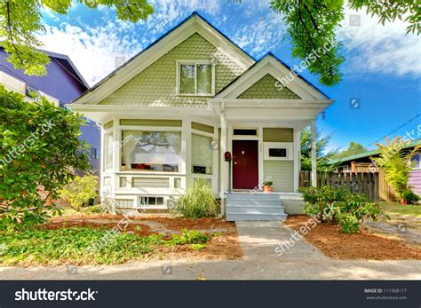 american small house small craftsman american house green stock photo 111368117