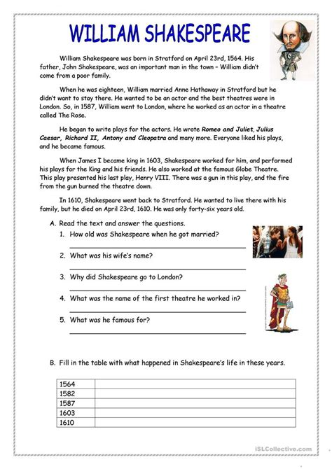 biography for esl students william shakespeare worksheets resultinfos