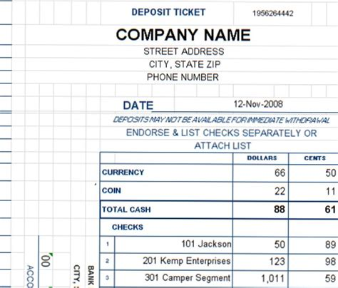 Deposit Ticket Template Excel Deposit Slip Template Excel Ticket Template