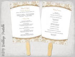 Wedding Fan Program Template by Wedding Program Fan Template Rustic Burlap Lace
