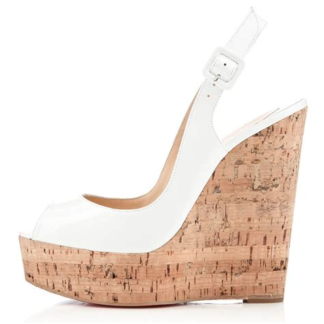 Christian Louboutin Patent Slingback Wedges by Cheap Christian Louboutin Une Plume Sling 140mm Patent