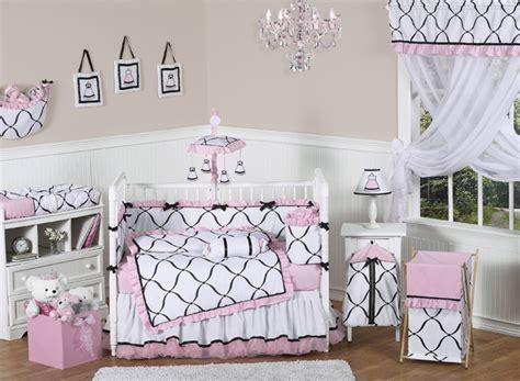 Jojo Discount Boutique Black White And Pink Luxury Baby Baby Princess Crib Bedding