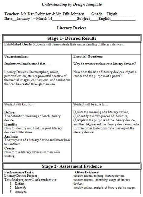 Backward Design Lesson Plan Template UN Mission Resume And - Understanding by design lesson plan template