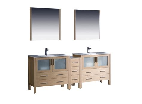 84 inch sink bathroom vanity in light oak with