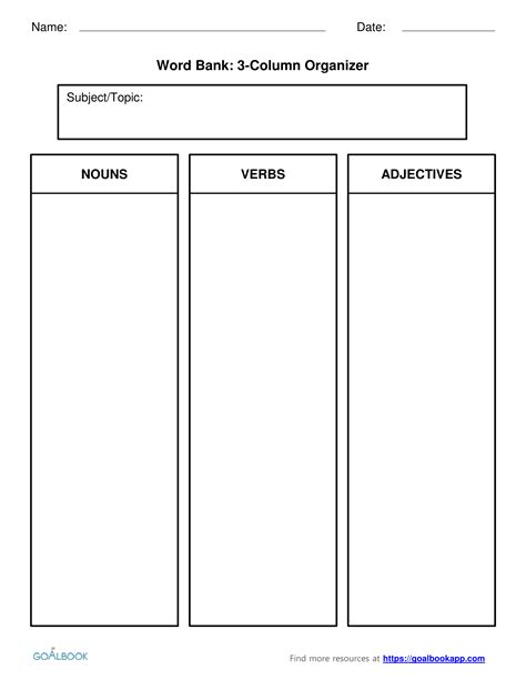 3 column word template w 7 2 explanatory writing writing 7th grade goalbook