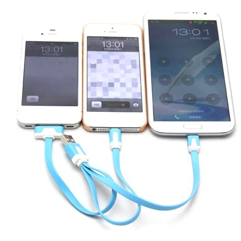 Usb Charger Adapter For Iphone Ipd 006 Features 3 in 1 noodle charging cable micro usb lightning 30 pin