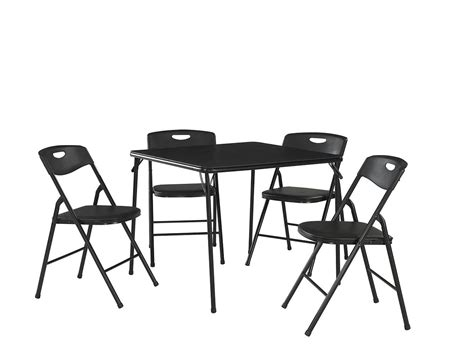 Folding Table Chair Set Cosco Products 5 Pc Folding Table And Chair Set Black