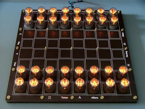 diy chess set nixie tube chess set glows without visible wires gizmo chunk