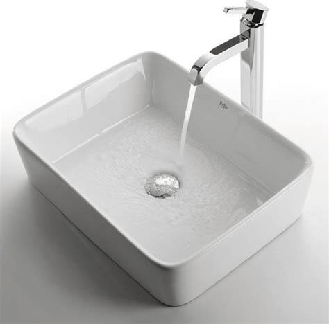 Modern Rectangular Bathroom Sinks Kraus C Kcv 121 1007 White Rectangular Ceramic Sink And