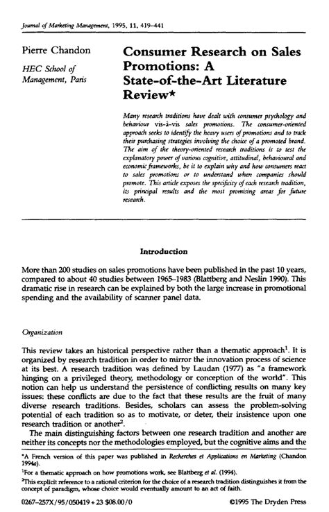 sle of a literature review in a research paper literature review on sales promotion pdf
