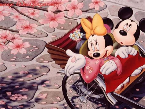 romantic mickey mouse  minnie mouse japanese cherry