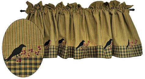 primitive fabric for curtains primitive crows berries curtain valance mustard ticking