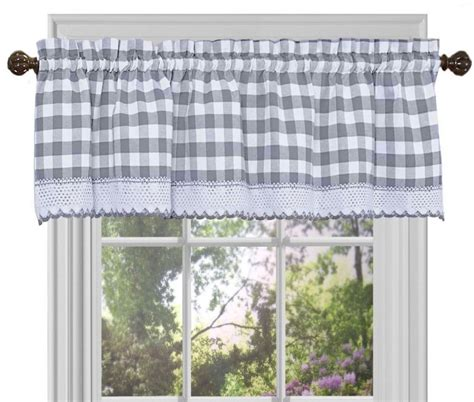achim buffalo check gray kitchen curtain kitchen accessories