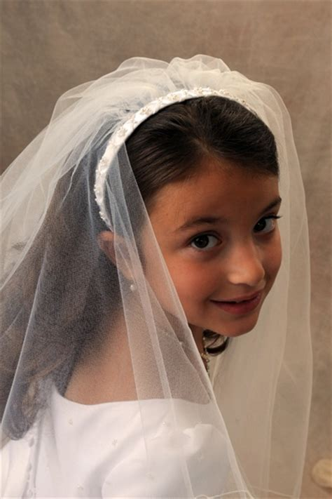communion hairstyles with headband veil first communion headband veils 4360 first communion