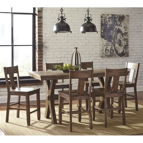 ashley furniture dinette sets dining tables bar height ashley walnord 7 piece counter height dining set in rustic