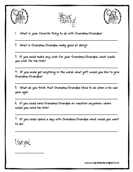 printable grandma questionnaire i used this for grandparents day my first graders came up