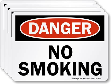 no smoking signs and labels osha warning no smoking osha danger label ships fast free sku lb 2574